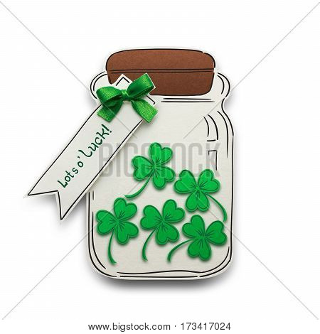 Creative St. Patricks Day concept photo of a bottle with shamrocks made of paper on white background.