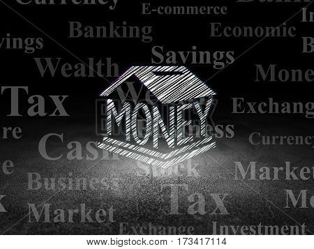 Banking concept: Glowing Money Box icon in grunge dark room with Dirty Floor, black background with  Tag Cloud