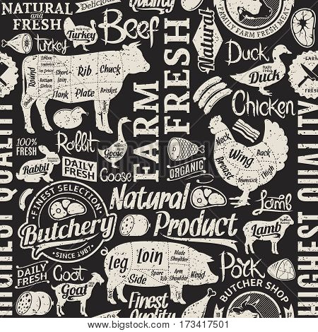Retro Styled Typographic Vector Butchery Seamless Pattern Or Background