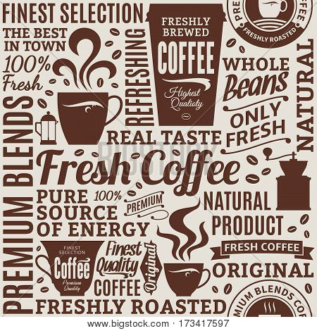 Typographic Vector Coffee Shop Seamless Pattern Or Background