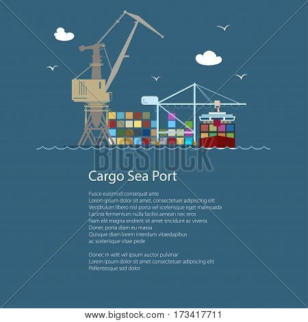 Seaport with Container Ship and Text, Unloading Containers from a Ship in a Docks with Cargo Crane ,International Freight Transportation, Poster Brochure Flyer Design, Vector Illustration