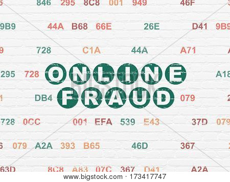 Security concept: Painted green text Online Fraud on White Brick wall background with Hexadecimal Code
