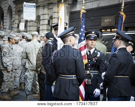 NEW YORK - 11 NOV 2016: Military personnel and honor guard assemble before the annual Americas Parade up 5th Avenue on Veterans Day in Manhattan.