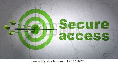 Success security concept: arrows hitting the center of target, Green Secure Access on wall background, 3D rendering