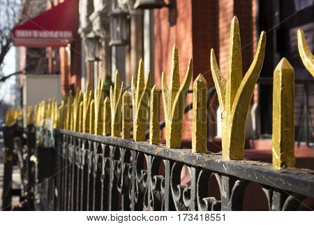 wrought iron gates outside home in new york city