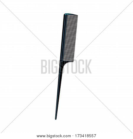 Traditional plastic black hairdresser comb, sketch style vector illustration isolated on white background. Hair comb, hairdresser tool, object, attribute