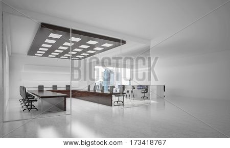 Modern empty elegant office with windows and workplaces. 3D rendering