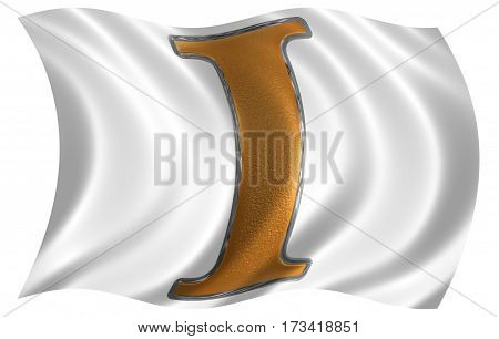 In The Wind Fluttering The Flag With Roman Numeral I, Unus, 1, One, Isolated On White Background, 3D