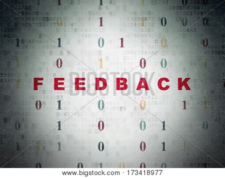 Business concept: Painted red text Feedback on Digital Data Paper background with Binary Code