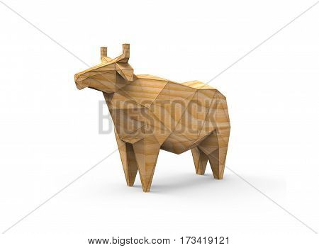 3D polygonal illustration of cow figure, low poly farm animals, cow made of wire frame