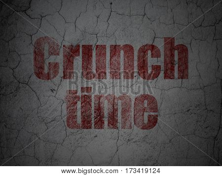 Business concept: Red Crunch Time on grunge textured concrete wall background