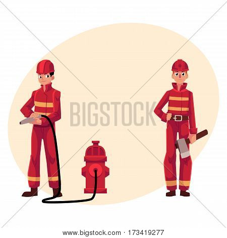 Firefighter, fireman in red protective suit holding fire hose and axe, cartoon vector illustration with place for text. Full length portrait of two firefighters, firemen at work