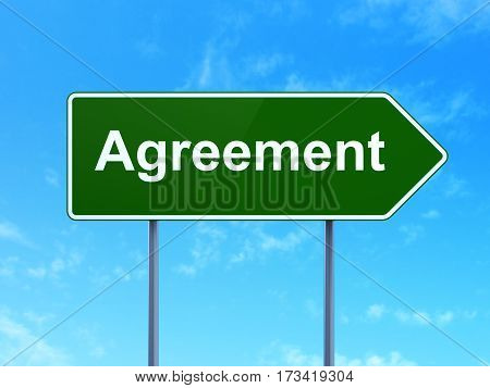 Business concept: Agreement on green road highway sign, clear blue sky background, 3D rendering