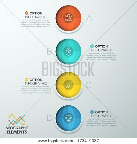 Vertical infographic design template, 4 separated circular elements and text boxes. Four stages of project development, features of business process concept. Vector illustration for website, banner.