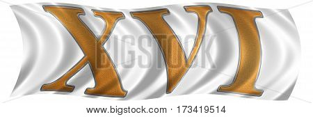 In The Wind Fluttering The Flag With Roman Numeral Xvi, Sedecim, 16, Sixteen, Isolated On White Back