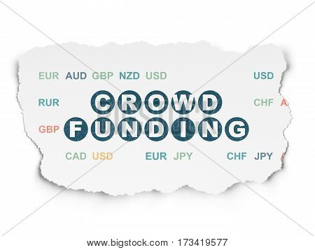 Business concept: Painted blue text Crowd Funding on Torn Paper background with  Currency