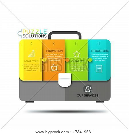 Infographic design template, jigsaw puzzle in shape of briefcase divided into 4 lettered pieces of different colors. Stages of audit process, business analysis concept. Vector illustration for report.