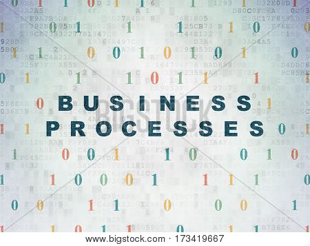 Business concept: Painted blue text Business Processes on Digital Data Paper background with Binary Code