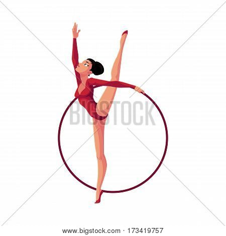 Beautiful girl in leotard standing in vertical leg split, rhythmic gymnastics with a hoop, cartoon vector illustration isolated on white background. Rhythmic gymnast exercising with hoop