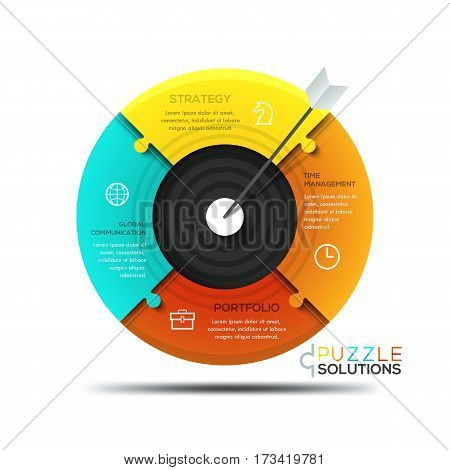 Modern infographic design template, jigsaw puzzle in shape of target divided into 4 parts with arrow in center. Business goal setting strategy concept. Vector illustration for presentation, banner.