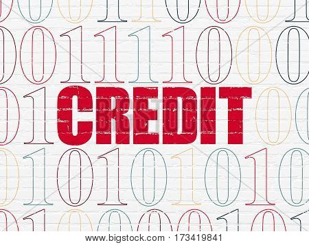 Finance concept: Painted red text Credit on White Brick wall background with Binary Code