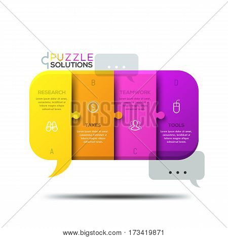 Modern infographic design template, jigsaw puzzle in shape of speech bubble divided into 4 pieces. Global communication, cooperation and teamwork concept. Vector illustration for presentation, banner.