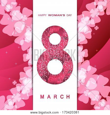 8 of March Woman's Day vector envelope on the gradient red background with pocket, light floral pattern, wave, star, text and shadow.