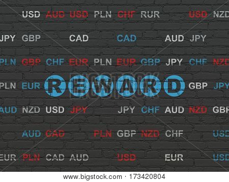 Finance concept: Painted blue text Reward on Black Brick wall background with Currency