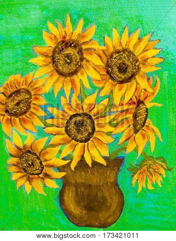 Hand painted illustration, oil painting, bouquet of sunflowers.