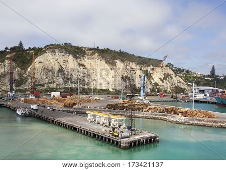 The view of Napier town port with overlooking cliff in a background (New Zealand).
