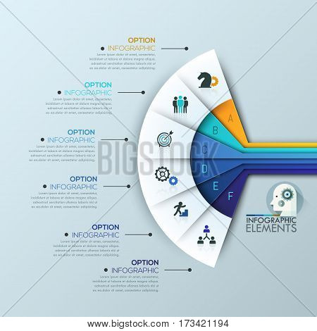 Unusual infographic design template, 6 multicolored sectoral lettered elements and text boxes. Fan chart. Stages of business process, project planning concept. Vector illustration for banner, poster.