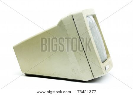 Old monitor isolated on a white background