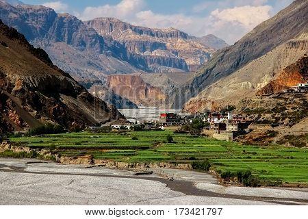 The village Kagbeni in the Himalayan mountains. Kali Gandaki River gorge. Nepal.