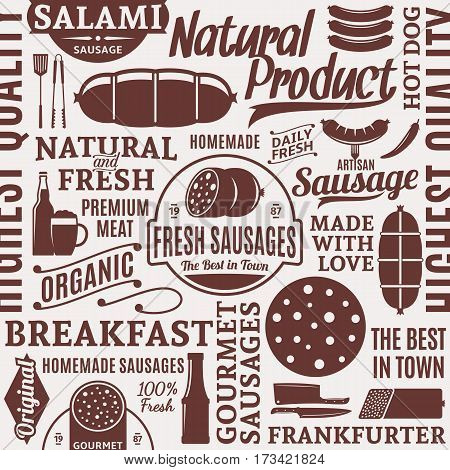Typographic Vector Sausages Seamless Pattern Or Background