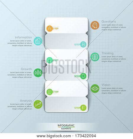 Modern infographic design template, 3 double-sided paper cards with letters and 6 text boxes. Steps of business project development. Vector illustration for corporate website, presentation, report.