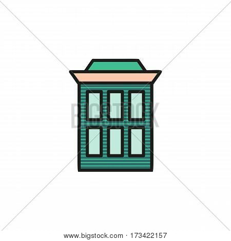 Isolated brown turquoise low-rise municipal house in lineart style icon, element of urban architectural building vector illustration