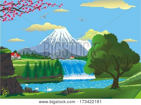 Landscape lake mountain waterfall. Country cottages near the waterfall. Swans on a mountain lake near the waterfall. Vector illustration