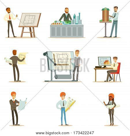 Architect Profession Series Of Vector Illustrations With Architects Designing Projects And Blueprints For Building Construction. Smiling Cartoon Characters Involved In Architectural Plans Design For Modern Landscape.