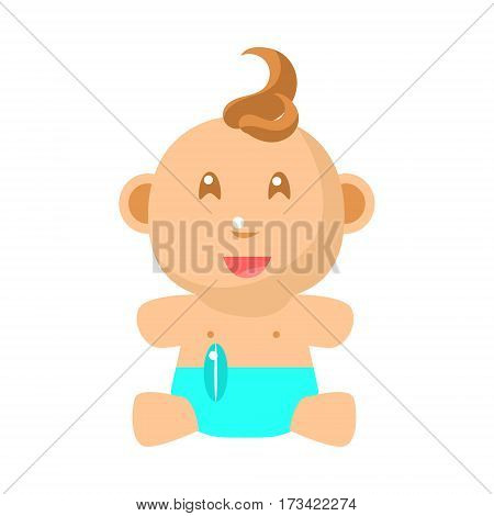 Small Happy Baby Sitting In Blue Nappy Vector Simple Illustrations With Cute Infant. Part Of Infancy Series Of Isolated Flat Icons With Smiling Kids And Their Activities.