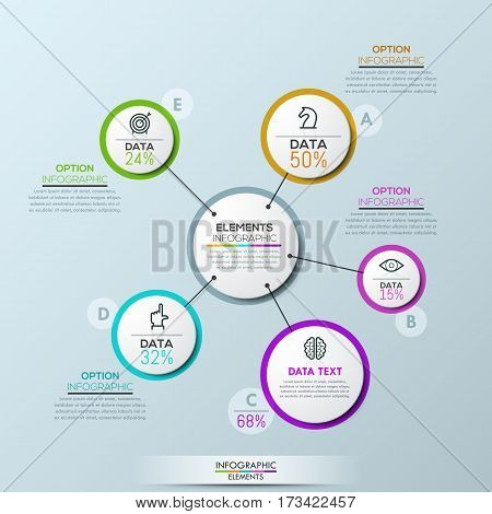 Vector company infographic overview design template, circular flower petal diagram with 5 multicolored elements connected with center. Proportion and percentage of annual revenue. Stock illustration.