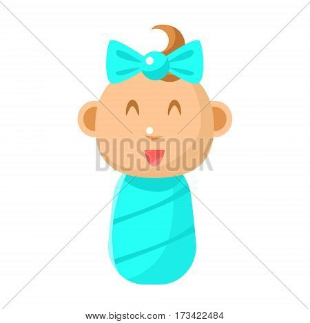Small Happy Newborn Baby Girl Swaddled In Blue Diaper Vector Simple Illustrations With Cute Infant. Part Of Infancy Series Of Isolated Flat Icons With Smiling Kids And Their Activities.