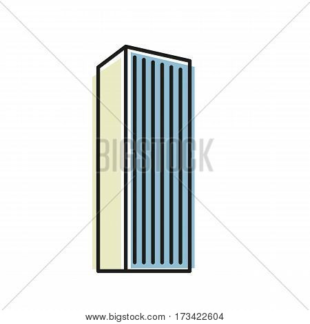 Isolated blue color skyscraper in lineart style icon, element of urban architectural building vector illustration