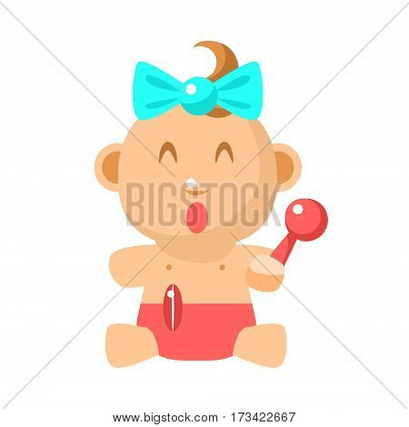 Small Happy Baby Girl Sitting With Toy Shaker In Red Nappy Vector Simple Illustrations With Cute Infant. Part Of Infancy Series Of Isolated Flat Icons With Smiling Kids And Their Activities.