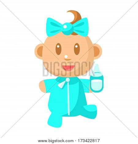 Small Happy Baby Walking In Blue Pajama Holding A Milk Bottle Vector Simple Illustrations With Cute Infant. Part Of Infancy Series Of Isolated Flat Icons With Smiling Kids And Their Activities.
