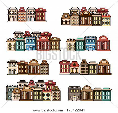 Isolated colorful low-rise houses, city elements vector illustrations set, municipal buildings icons collection