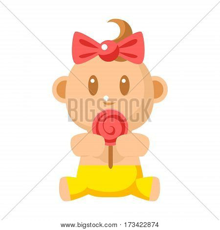 Small Happy Baby Girl In Yellow Pants Eating A Lollypop Vector Simple Illustrations With Cute Infant. Part Of Infancy Series Of Isolated Flat Icons With Smiling Kids And Their Activities.