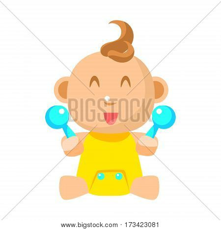 Small Happy Baby In Yellow Onesie With Two Toy Shakers Vector Simple Illustrations With Cute Infant. Part Of Infancy Series Of Isolated Flat Icons With Smiling Kids And Their Activities.