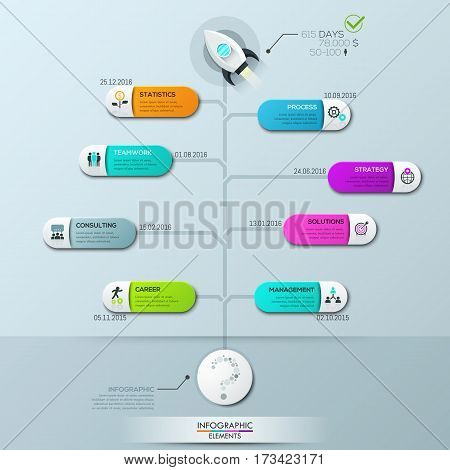 Infographic design template, vertical tree diagram with 8 connected elements and text boxes. Startup launch story and statistics, business development process. Vector illustration for report, website.