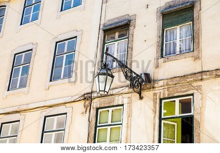 Street Light on Old Apartments in Lisbon