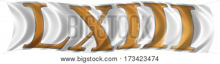 In The Wind Fluttering The Flag With Roman Numeral Lxiii, Tres Et Sexaginta, 63, Sixty Three, Isolat